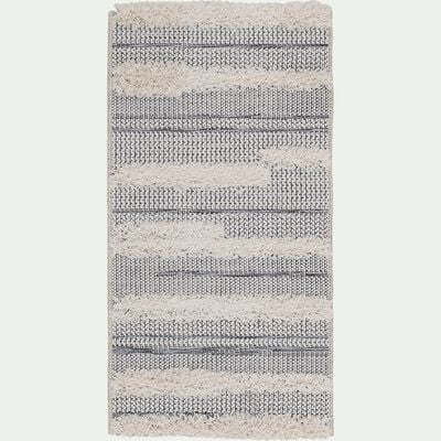 Tapis rectangulaire motifs rayés et jeu de matières 60x110 cm-MAGGIE