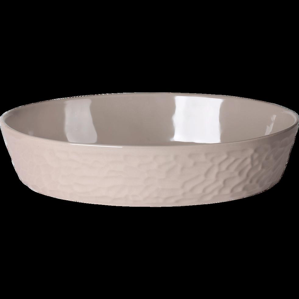 Plat à four ovale en grès gris - 36x24cm-MARTELLO