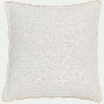 Coussin frangé en lin et coton blanc 40x40cm-BAHNA