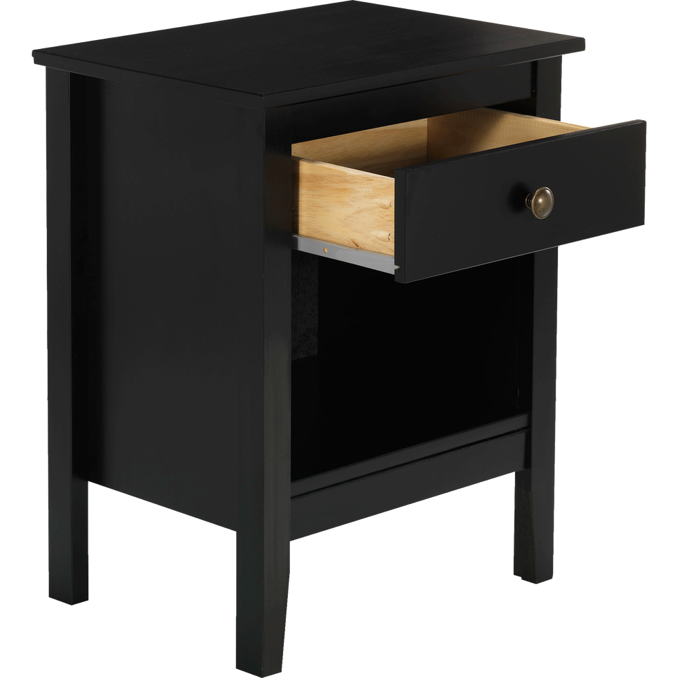 Table de chevet en pin massif noir 1 tiroir et 1 niche lison alinea - Table de chevet pin massif ...