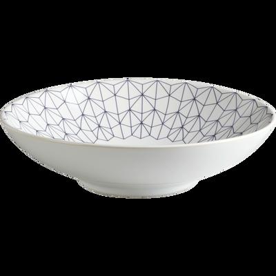 Assiette creuse en grès blanc à motifs D19cm-HOM