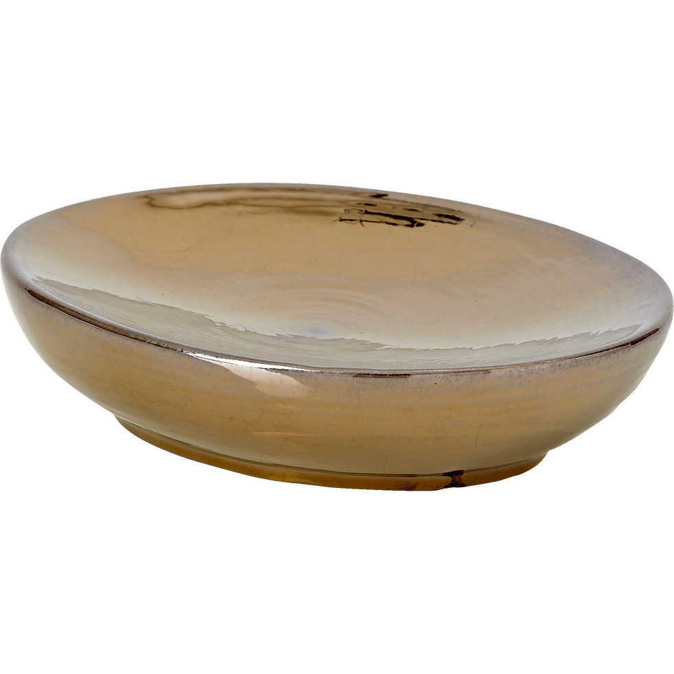 Porte-savon en céramique dorée métallisée-MATHYS