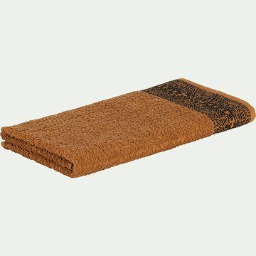Drap de douche bouclette et plat en coton - marron 70x140cm-NIL
