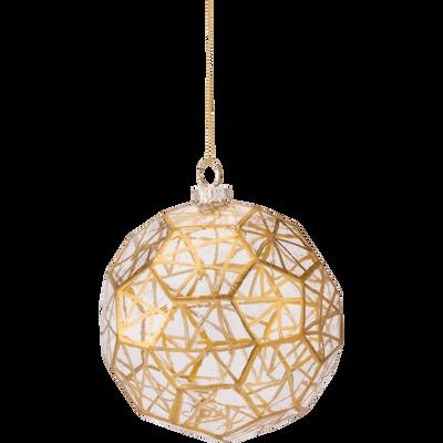 Boule de Noël en verre avec dorures D9,5cm-KASDIR