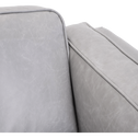 Canapé 3 places fixe en cuir gris restanque-BROOKLYN