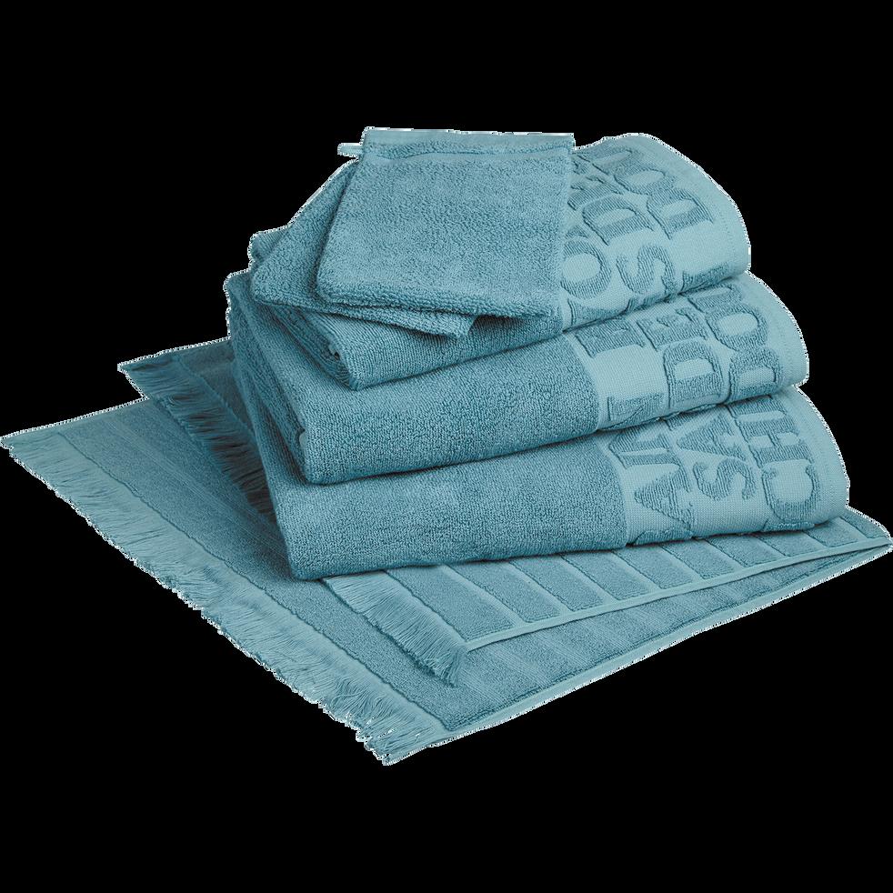 Serviette de bain 50x90cm à liteau bleu-BULLY