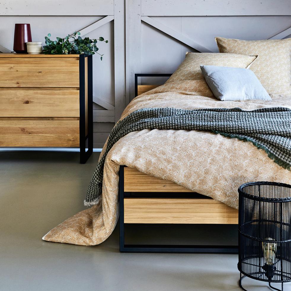 Lit 2 places bois et métal avec tête et pieds de lit - 140x190 cm-ENDOUME