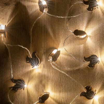 Guirlande lumineuse écureuils et glands en bois - L173cm naturel-ANASTASE