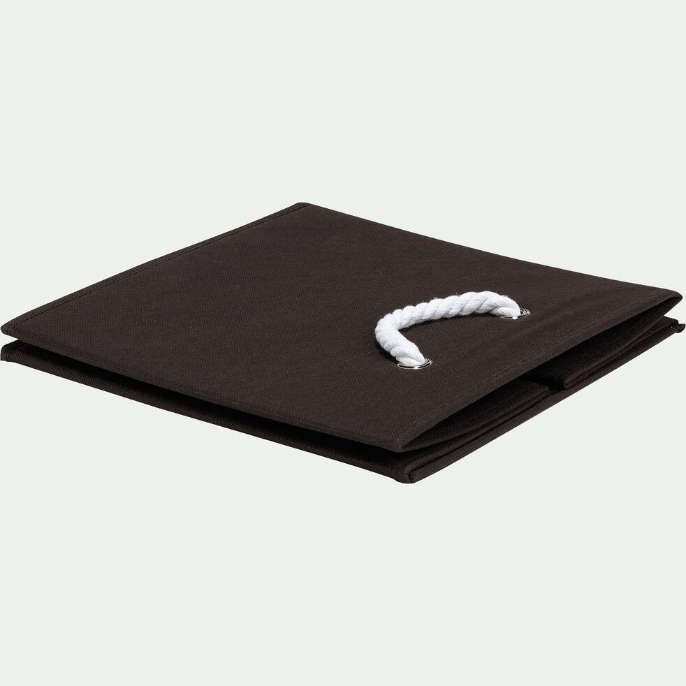 Panier carré pliable chocolat 31x31x31 cm-Corde