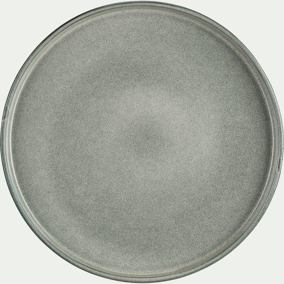 Assiette plate en grès émail réactif D27cm - gris clair-PIETRA