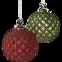 Boule de Noël en verre vert D10cm-DOUCE