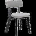 Chaise en tissu gris restanque pieds noirs-AMEDEE