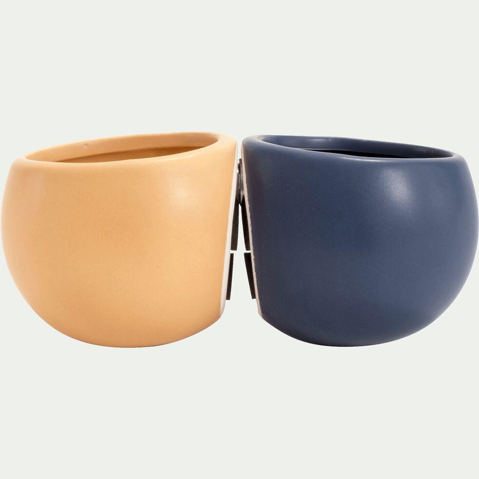 Cache-pot en céramique - beige nèfle - H10xD6cm-mai