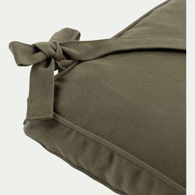 Galette de chaise carrée en coton vert cèdre 38x38cm-BORMES