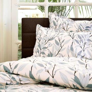 Housse de couette en percale de coton motif Fleurs d'oranger - gris restanque 260x240cm-FANNY