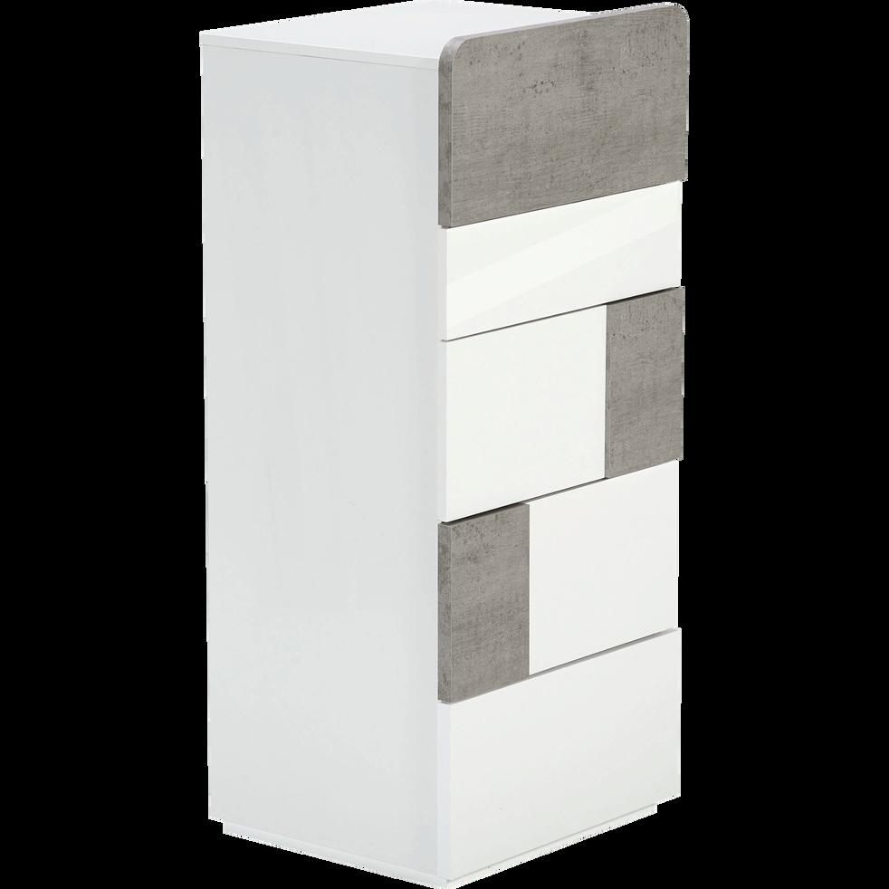 Chiffonnier 5 tiroirs blanc laqué et coloris béton-DELIA