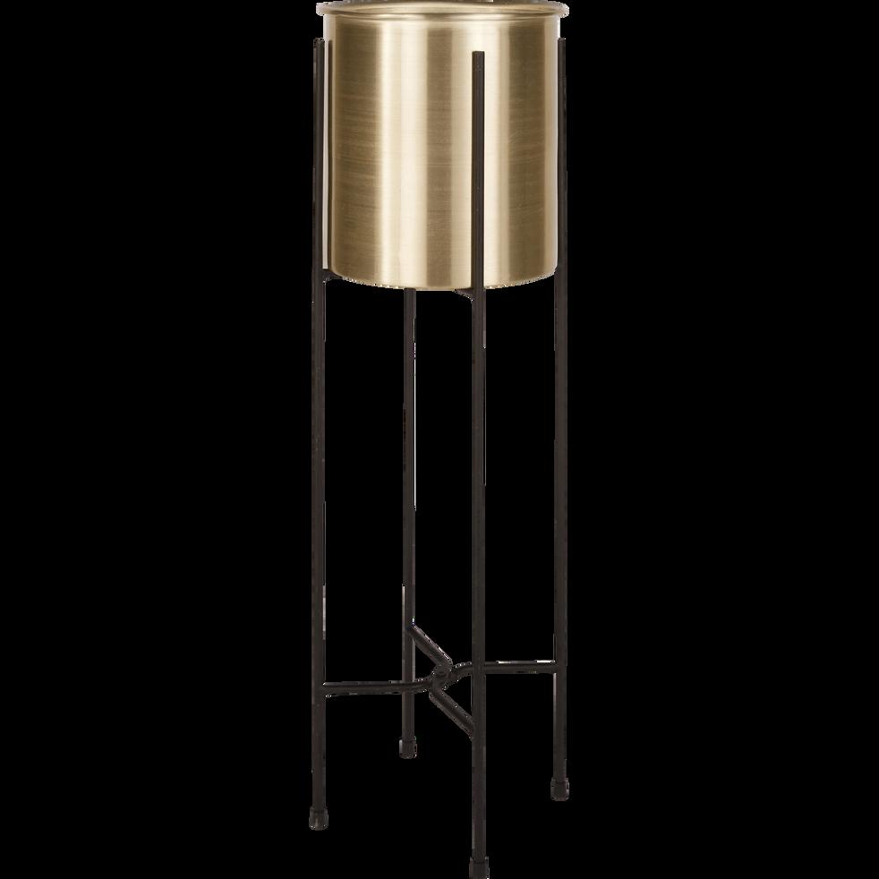 Cache-pot  sur pied en métal doré H68cm-LYRA