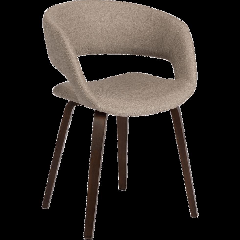 Chaise en tissu beige roucas pieds noyer avec accoudoirs-JOYAU
