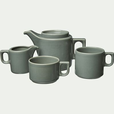 Tasse à café en faïence vert cèdre 18cl-VADIM