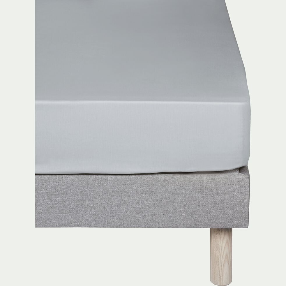 Drap housse en coton - gris borie 90x200cm B25cm-CALANQUES