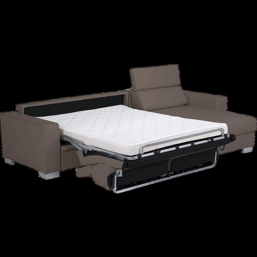 Canapé d'angle réversible convertible en cuir de buffle taupe-Mauro