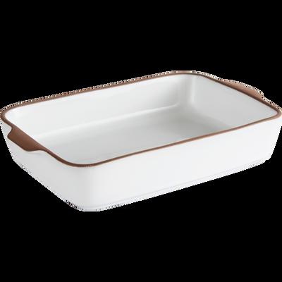 Plat à four blanc en grès 26x16cm-DARKSTONE
