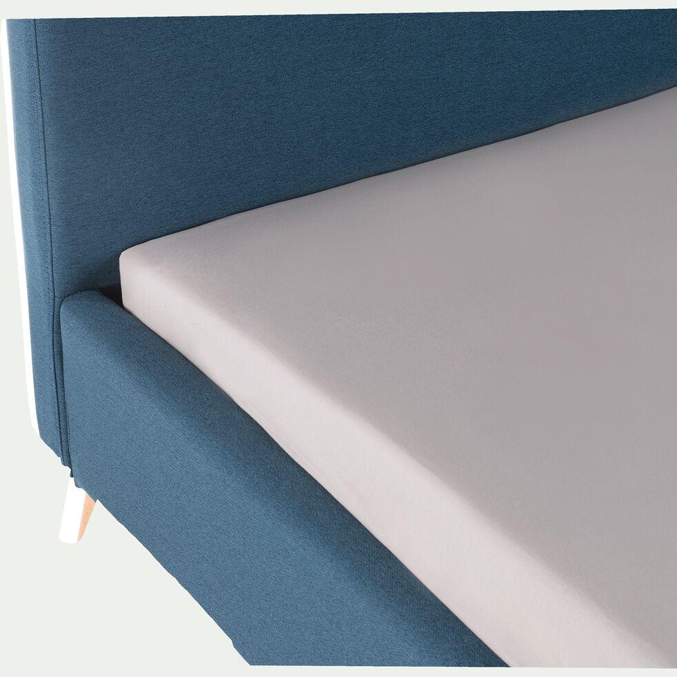 Lit 2 places avec structure et tête de lit en tissu Bleu - 160x200 cm-AGNES