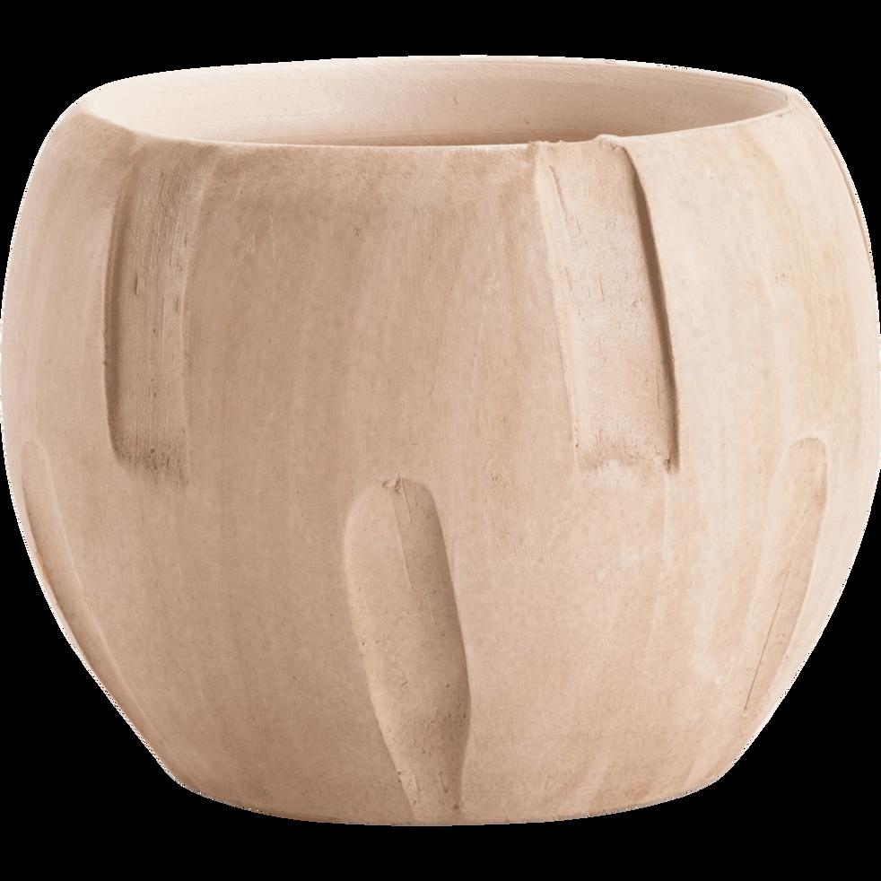 Cache-pot en céramique beige D17xH13cm-Manjo