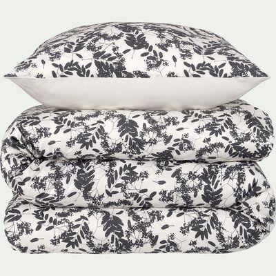 Housse de couette en coton 240x220cm et 2 taies d'oreillers noirs avec motifs feuilles-GRAMINEE
