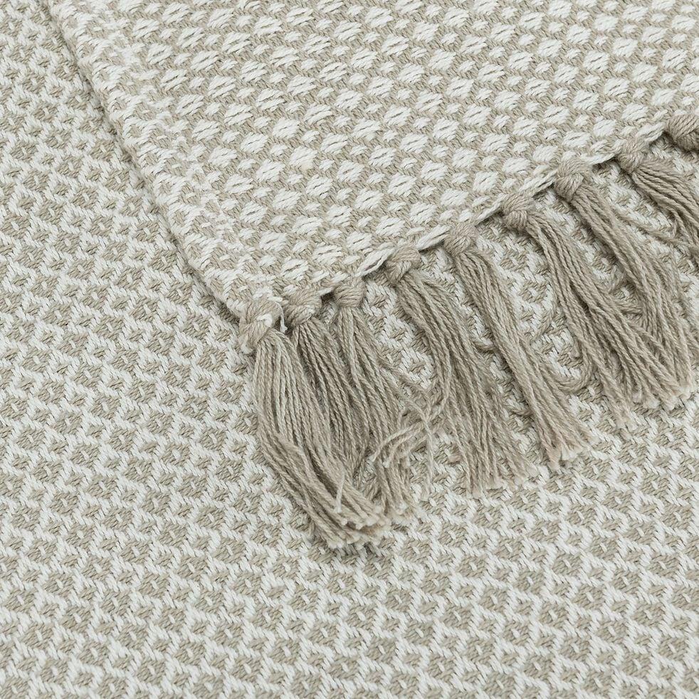 Plaid à franges et motifs en coton - beige 130x170cm-PARA