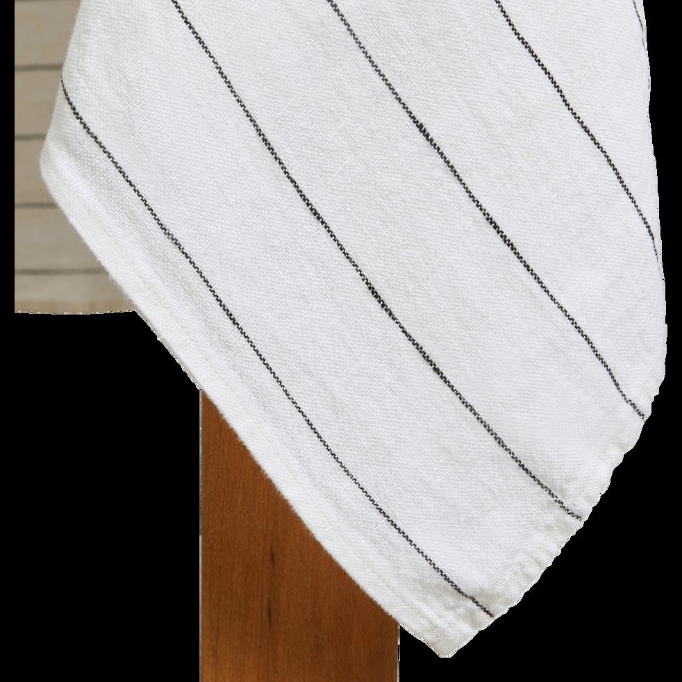 Nappe rayée en lin blanc 170x250cm-BORSALINO