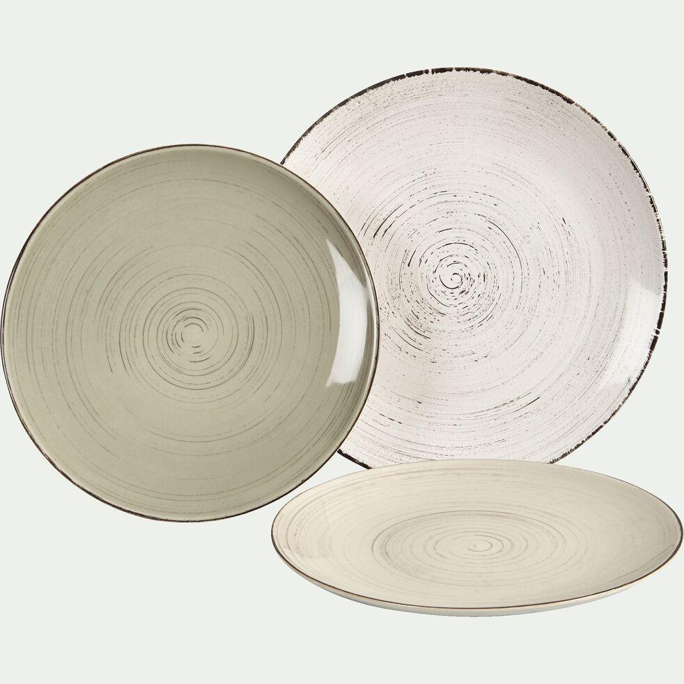Assiette plate en faïence vert olivier effet patiné D27cm-GASTON