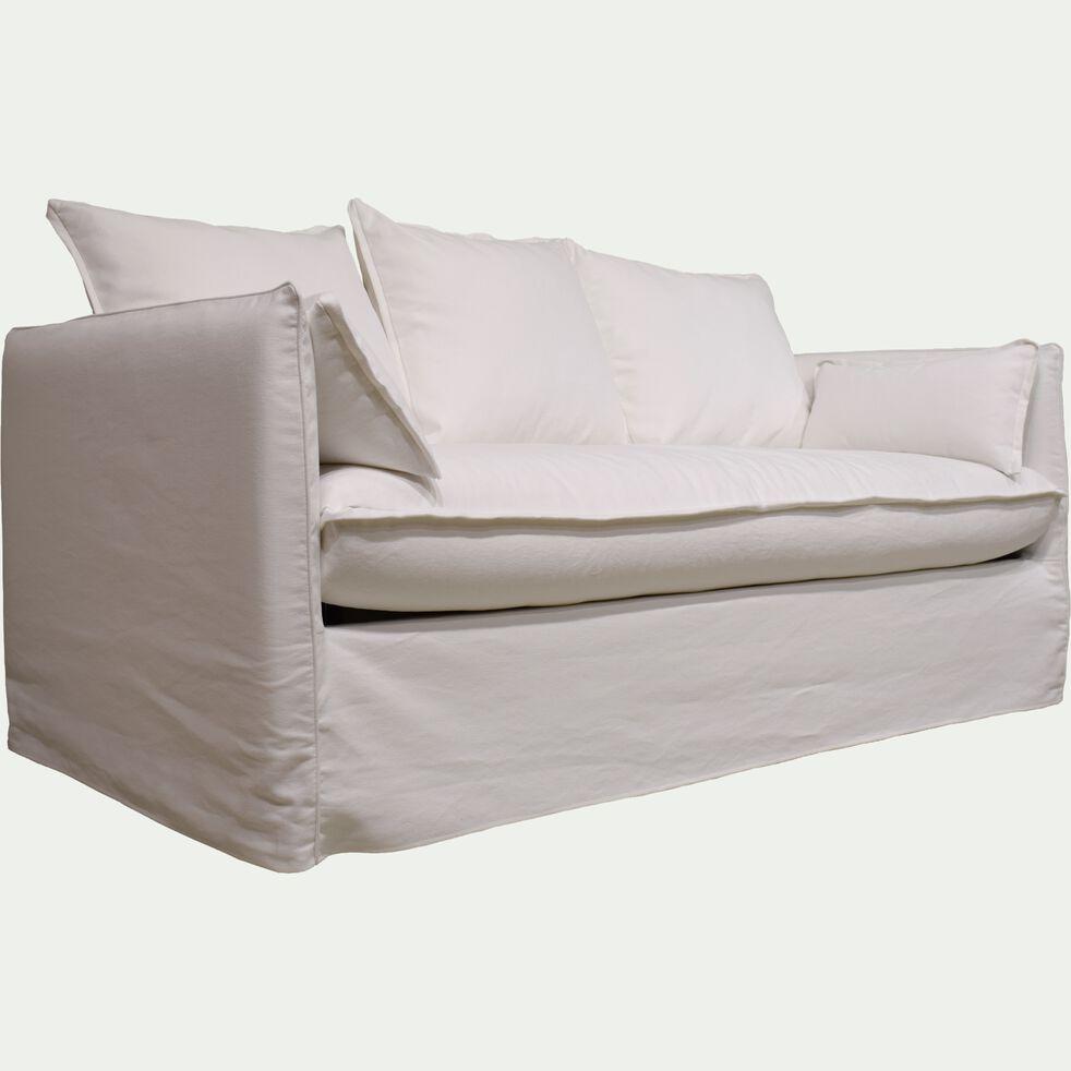 Canapé 3 places convertible en coton et lin - blanc capelan-KALISTO