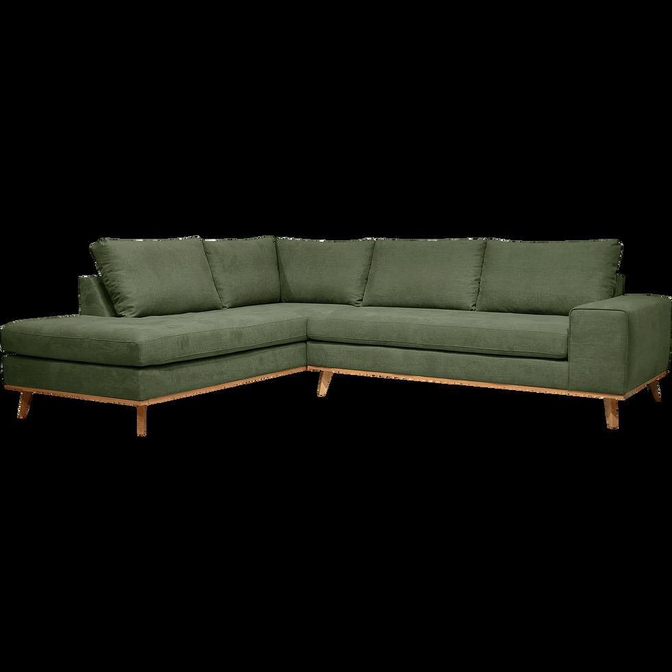 Canapé d'angle fixe gauche en tissu kaki-PICABIA