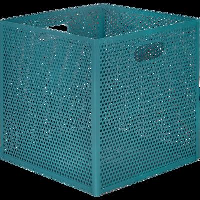 Caisse de rangement en métal bleu L31xl31xH30cm-PIA