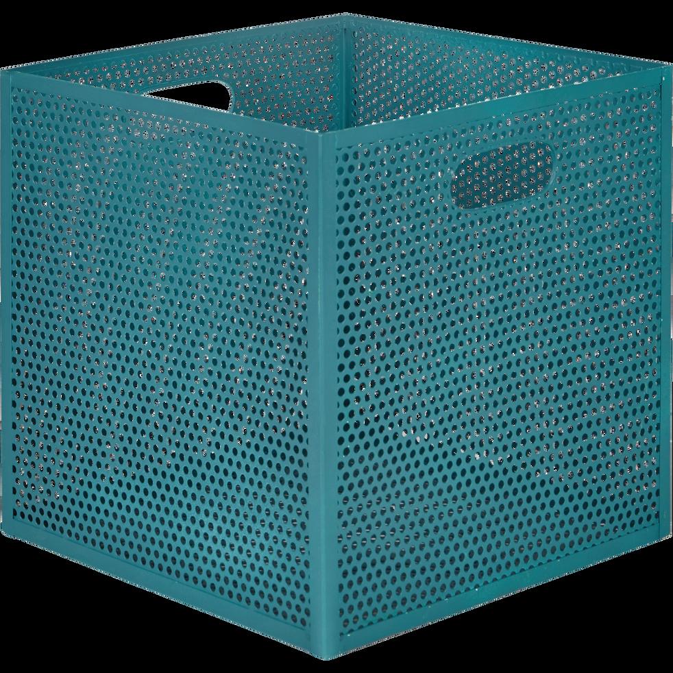 caisse de rangement en m tal bleu l31xl31xh30cm pia alinea. Black Bedroom Furniture Sets. Home Design Ideas
