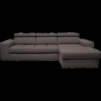 Canapé d'angle droit convertible en tissu anthracite-TONIN