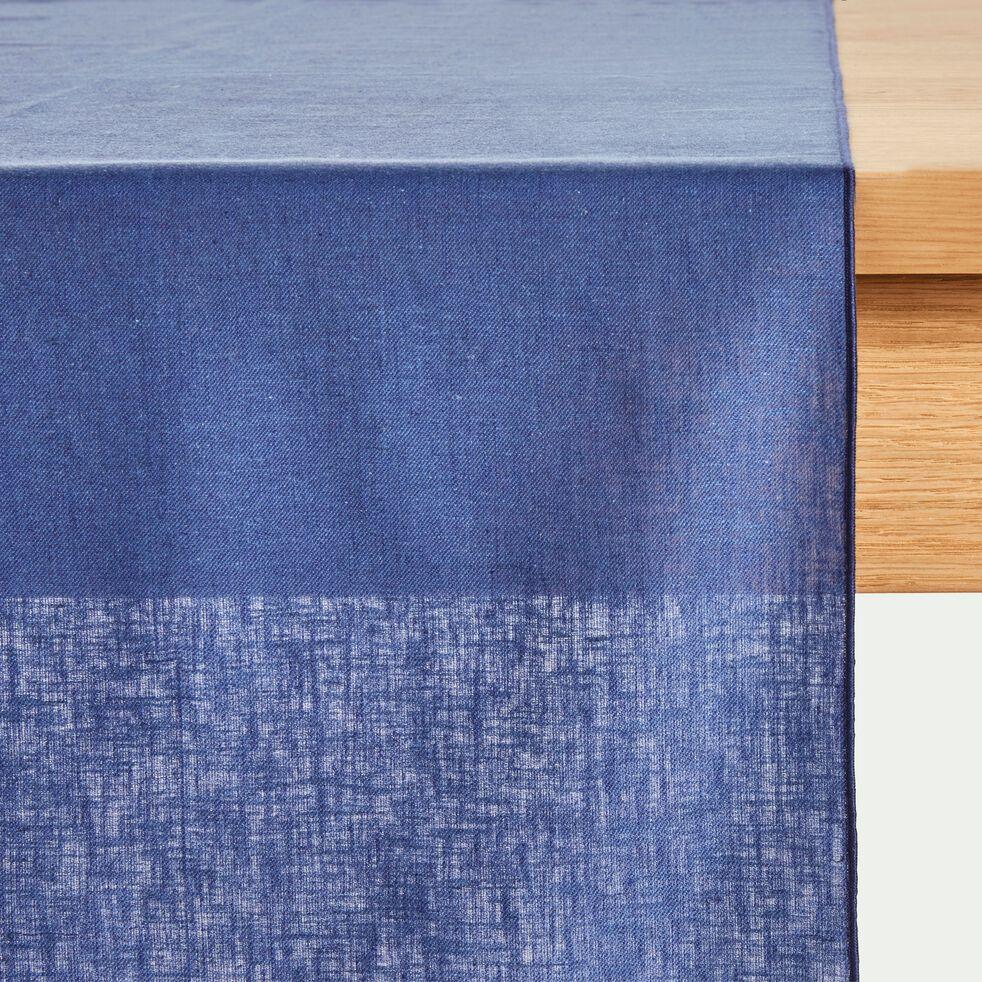 Chemin de table en lin et coton bleu figuerolles 50x150cm-NOLA