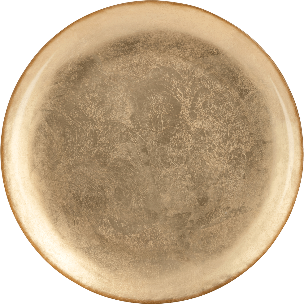 Assiette plate en verre doré D27.7cm-TRESOR