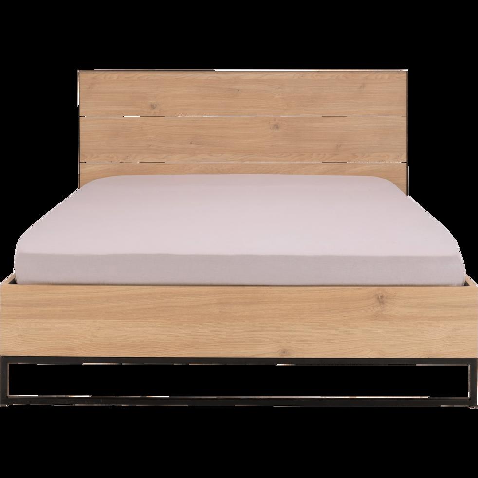 Lit 2 places bois et métal Noir - 140x200 cm-GASPARD