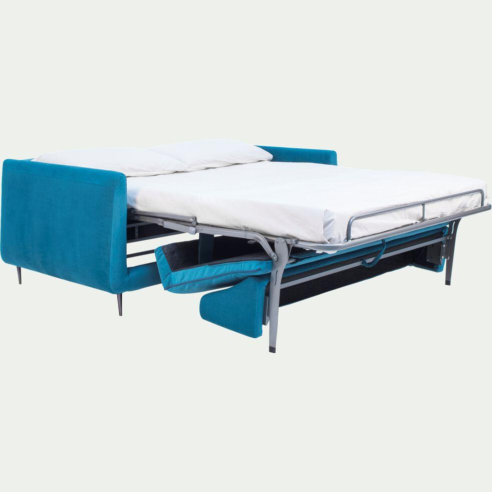 Canapé 3 places convertible en tissu - bleu niolon-ASTELLO