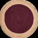 Tapis rond rouge sumac en jute D120 cm-NAIA