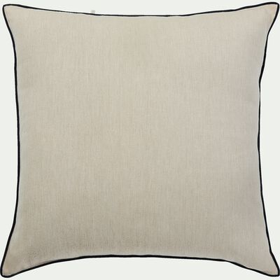 Coussin en coton blanc avec passepoil noir 45x45 cm-LINIA