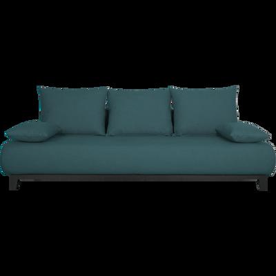 Canapé 5 places fixe en tissu bleu niolon-GLORIA