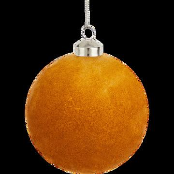 Boule de Noël en verre orange D10cm-SABLONS