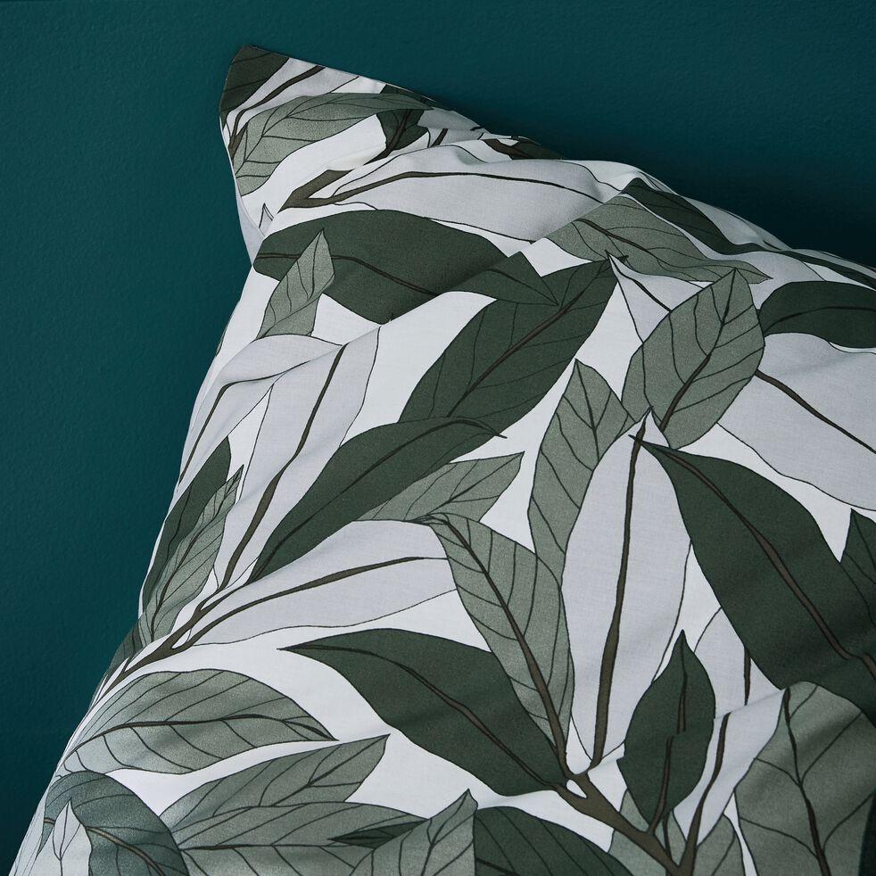 Lot de 2 taies d'oreiller en coton motif Laurier - vert 63x63cm-SARA