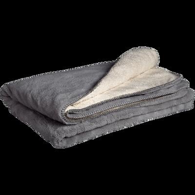 Plaid doux imitation fourrure gris restanque 230x250cm-MARIUS