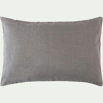 Coussin en lin lavé - gris restanque 40x60cm-VENCE