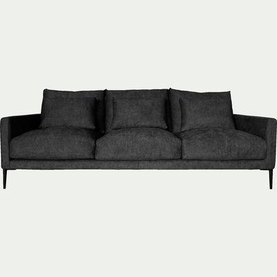 Canapé 4 places fixe en tissu gris ardoise-SOZY