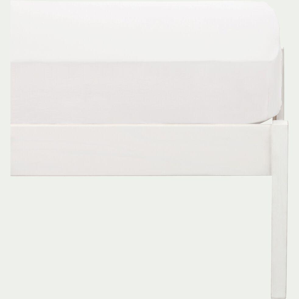 drap housse en coton lavé blanc 90x140 cm- bonnet 25cm-CALANQUES